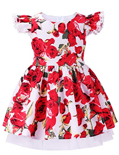 ANATA Toddler Flower Party Dress Kids Sleeveless Birthday Floral Dress Girls Summer Clothes Ruffle Sleeve Flutter Bridesmaid Wedding Gown Rose White 06 1-2 Years