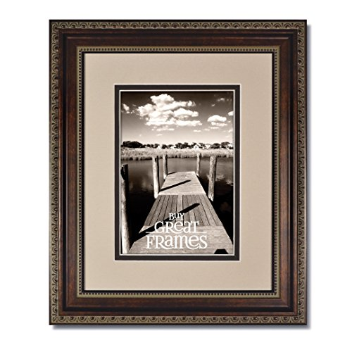 One 16x20 Ornate Heritage Bronze Picture Frame and Clear Glass with Double Oyster/Espresso White Core Mat for (New Bronze Core)