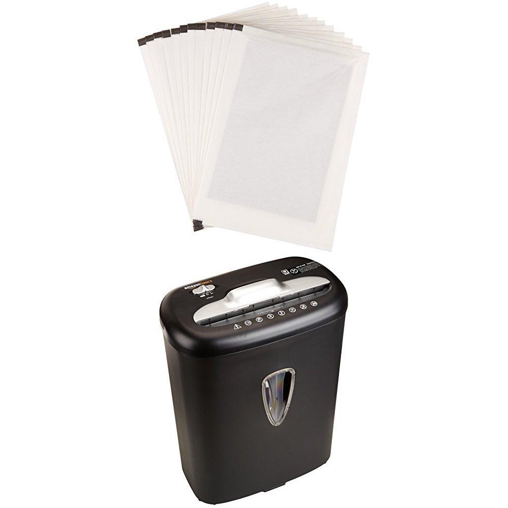 AmazonBasics 8-Sheet Cross-Cut Paper and Credit Card Shredder and Shredder Sharpening & Lubricant Sheets (Pack of 12) Bundle