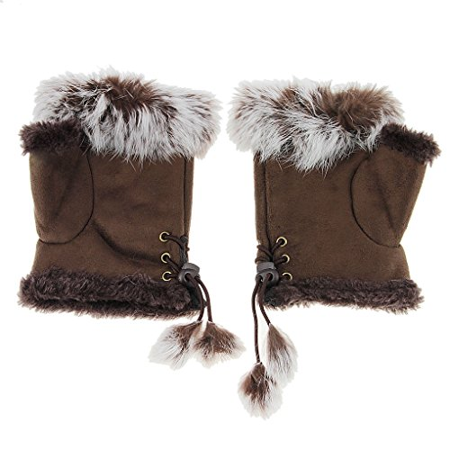 Brown And Cony Costumes - Womens Girls Half Finger Gloves Faux