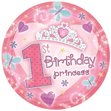 Quot1st Birthday Princess Party Plates 177 Cms