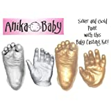 Basic Baby Casting Kit Materials (3D Handprint & Footprint Casts Kit) with Metallic Silver & Gold paint by BabyRice
