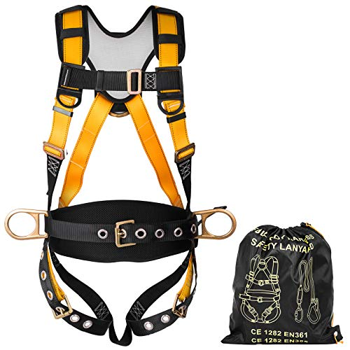 Happybuy Construction Safety Harness Fall Protection Full Body Safety Harness with 3 D-Rings,Belt and Additional Padding (Yellow with Belt) by Happybuy (Image #1)