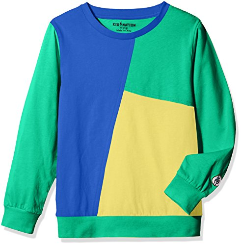 Kid Nation Kids' Long Sleeve Contrast Patchwork T-Shirt for Boys or Girls M Navy/Green/Yellow