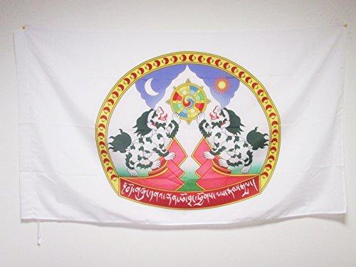 AZ FLAG Drapeau Embl/ème du Tibet 150x90cm Lion des neiges 90 x 150 cm Fourreau pour hampe Drapeau tib/étain
