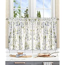 "Simple Comfort Abigail Traditional Hydrangea Floral Print (Tailored Tier Curtains, 56 x 24"", Porcelain)"