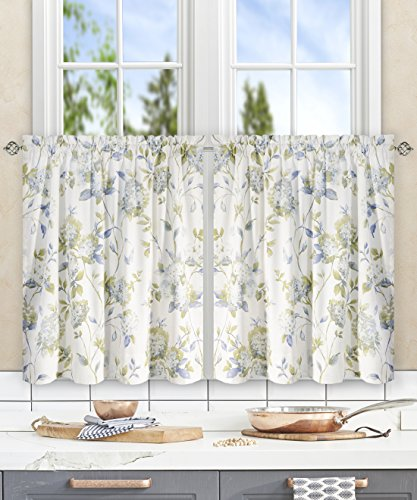 (Simple Comfort Abigail Traditional Hydrangea Floral Print (Tailored Tier Curtains, 56 x 24, Porcelain))