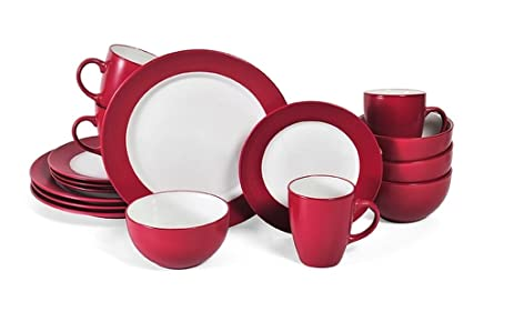 16-Piece Stoneware Red/White Dinnerware Set Dishwasher And Microwave Safe Dimensions  sc 1 st  Amazon.com & Amazon.com | 16-Piece Stoneware Red/White Dinnerware Set Dishwasher ...