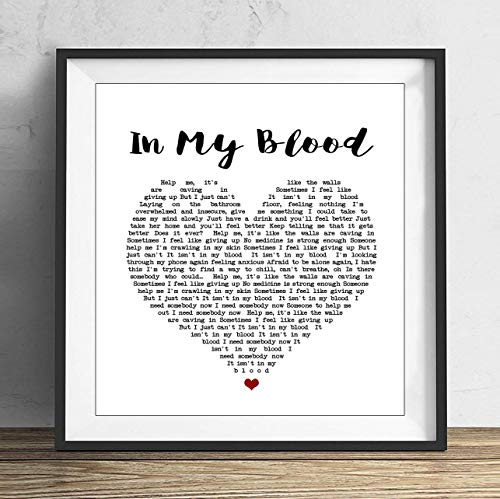 Calendar Heart Print - 79 BiiUYY in My Blood Shawn Mendes Heart Song Lyric Quote Print 8x8 inch with Frame