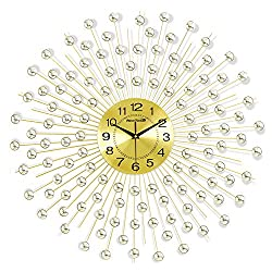 NEOTEND Decorative Silent Wall Clock Large Metal 3D Handmade Clock Diameter 27.6.