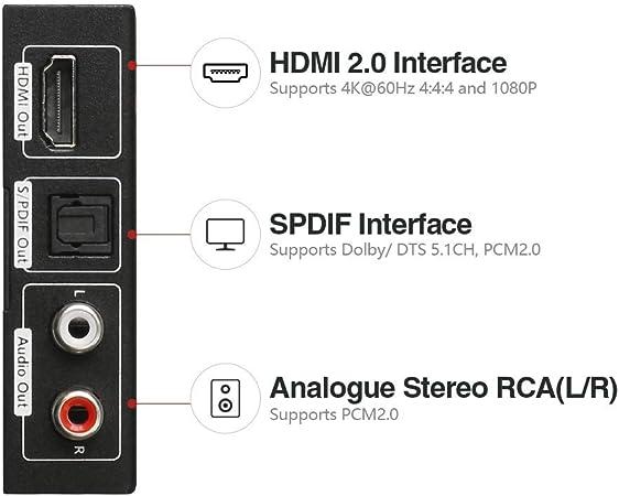AV Access UltraHD HDMI 2.0 Audio Extractor Converter CEC 4K@60Hz 444//30Hz 1080P HDR10 HDCP2.2 3D Optical TOSlink//SPDIF//Analogue Stereo RCA L//R 5.1CH Splitter for Speaker Amplifier Soundbar