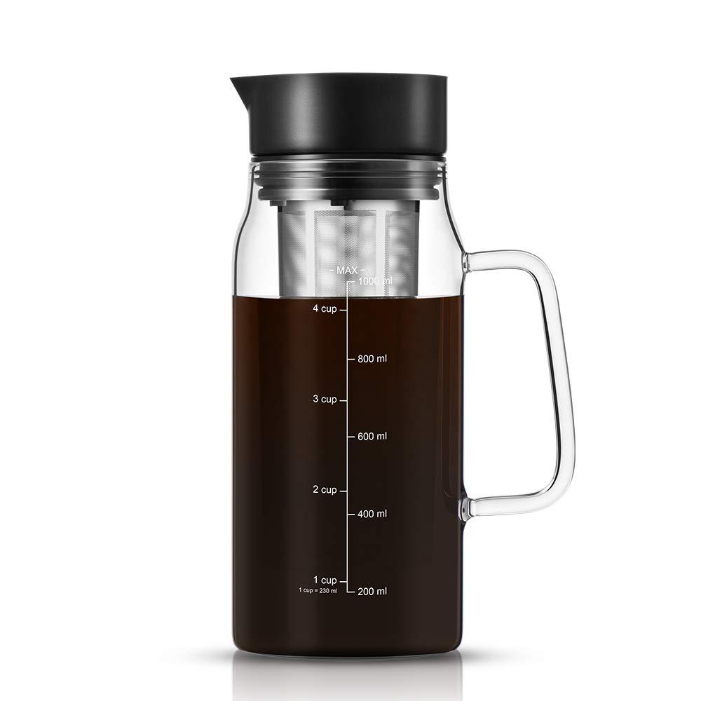 soulhand cafetera de Infusion Cortafríos café, cafetera de café té infusé fría 1,5L,–Tarro de Cristal Pico vertedor, Filtro de Acero Inoxidable extraíble, Cold Brew Coffee Maker Brewer