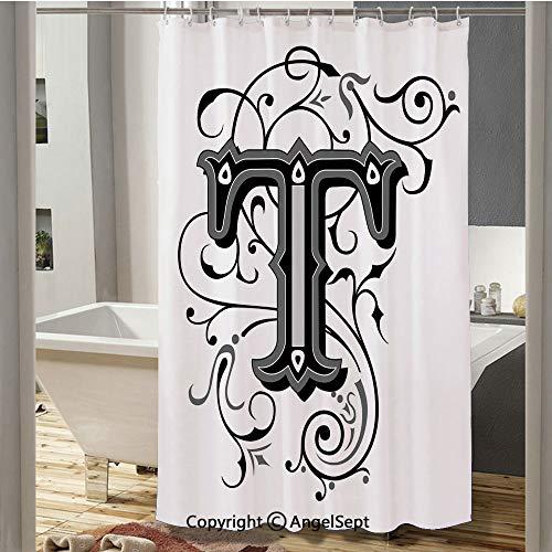 Symmetrical Uppercase Letter in Renaissance Art Style Ornamental Monochrome Decorative Bathroom Shower Curtain(37