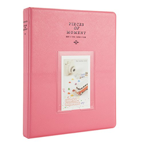 Woodmin 128 Pockets Fujifilm Instax Mini Photo Album,3-inch Photo Book for Fuji Instant Mini 8 8+ Mini 9 70 7s 25 50s 90, Polaroid Z2300, PIC-300P Films, Ticket Album, Card Holder(Deep Pink) Vintage Design Photo Christmas Cards