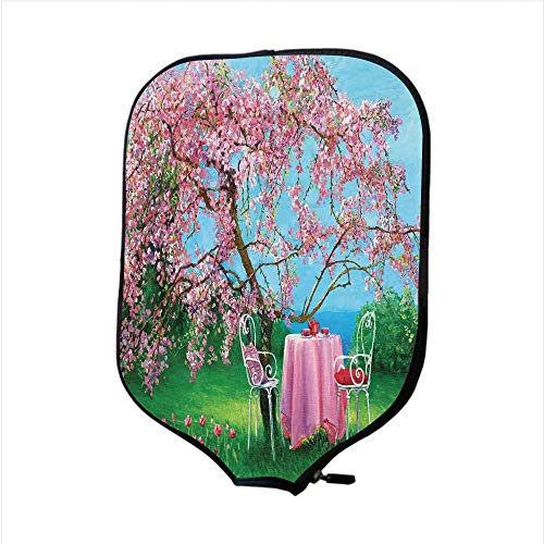 Neoprene Pickleball Paddle Racket Cover Case,Rustic,Tea Time Theme Vintage Chairs Plum Tree Spring Garden Painting,Light Blue Green and Light Pink,Fit for Most Rackets - Protect Your Paddle