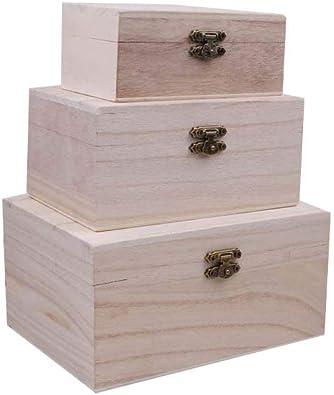 Healifty 3 Piezas Caja de Madera Rectangular sin Terminar con Tapa con Bisagras Caja de Joyería Caja de Regalo Caja de Almacenamiento del Tesoro Cofre para Manualidades DIY: Amazon.es: Joyería