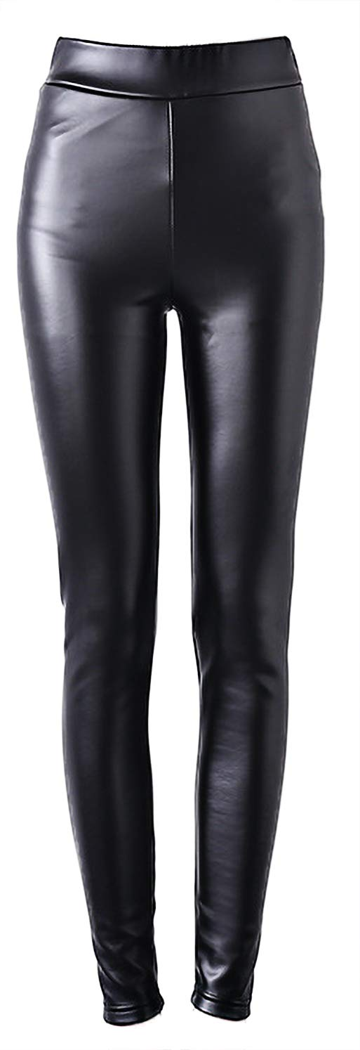 Womens Liquid Wet Look Thick Fleece Lined Leggings Skinny Pants