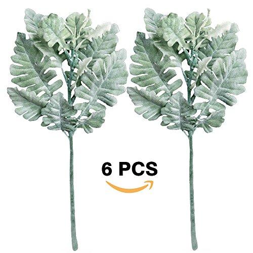 "Supla 6 Pcs Artificial Silk Flocked Dusty Miller Flower Spray Dusty Miller Bush in Green Grey 12.6"" Tall Artificial Greenery Artificial Plants Leaf Floral Arrangement Wedding Bouquets Greens"