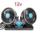 ZQFengshan 12V / 24V Mini Fan 360 Degree All-Round Adjustable Car Auto Air Cooling Dual Head Low Noise Car Auto Air Electric Fans,2,12V