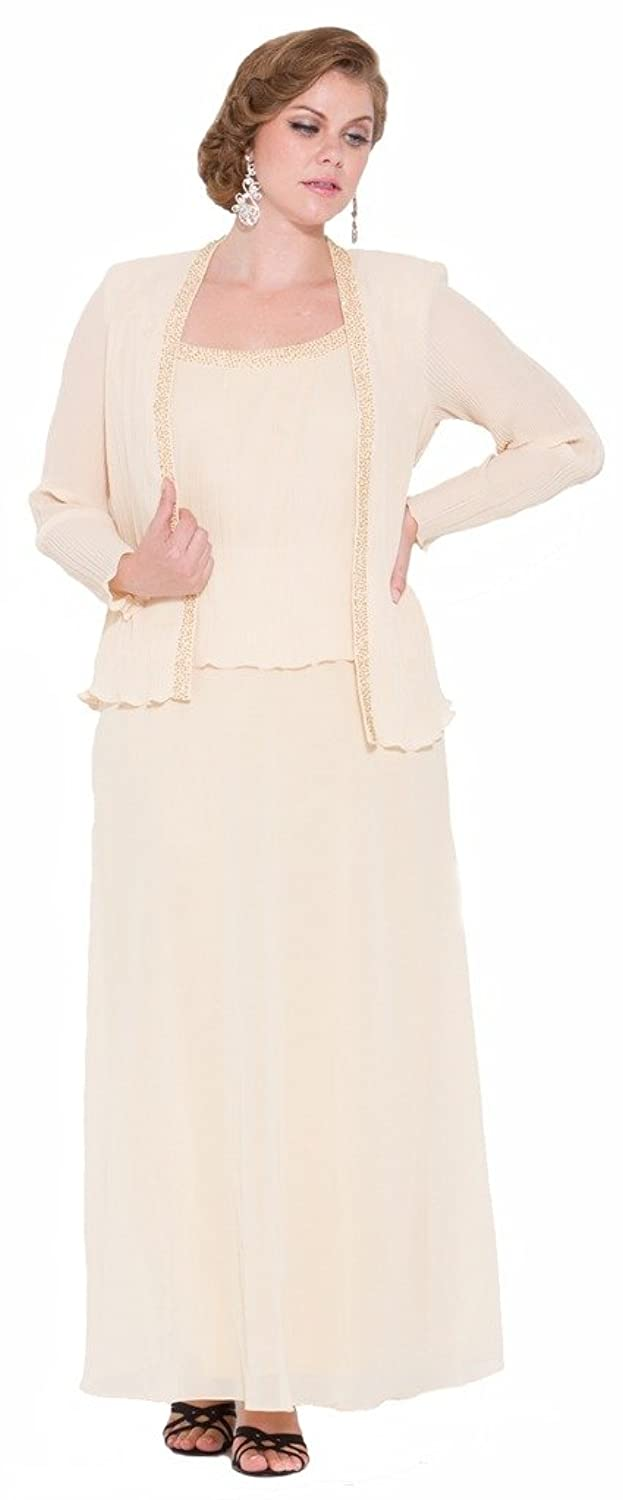 Mother of the Bride Chiffon Long Dress Formal with Matching Jacket ...