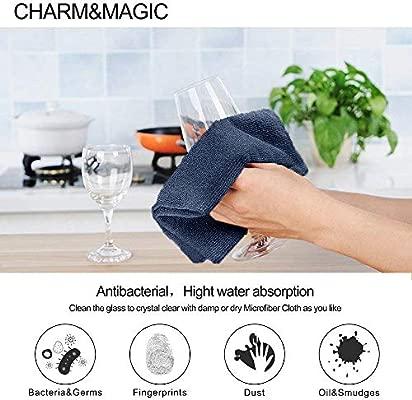 CHARM & MAGIC Paños de Limpieza de Microfibra para Polvo Cocina Cuadros Espejos Oficina Coche Pack de 10 (30 x 40 cm)