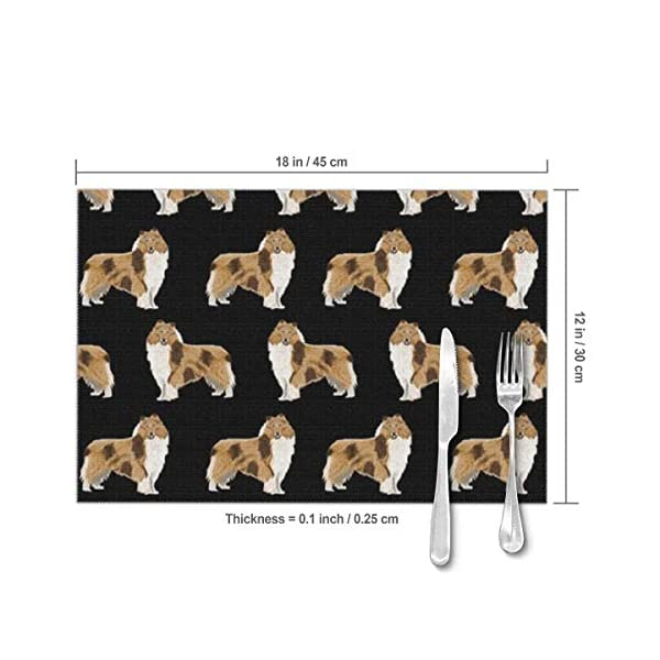 Gao808yuniqi Rough Collie Dog 3D Printed Tableware Mat,Placemats Set of 6,18 X 12,Snack Placemats,Beverage Placemats,Party Placemats for Dining Table,Kitchen Drink Placemat 3
