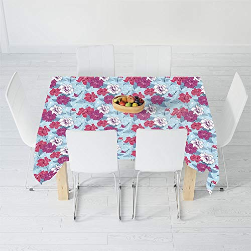 Lively Leaves Desk Topper - Fashionable Tablecloth,Floral,for Secretaire Square Table Office Table,60.2 X 30.3 Inch,Damask Flourish Lively Blooms and Leaves with