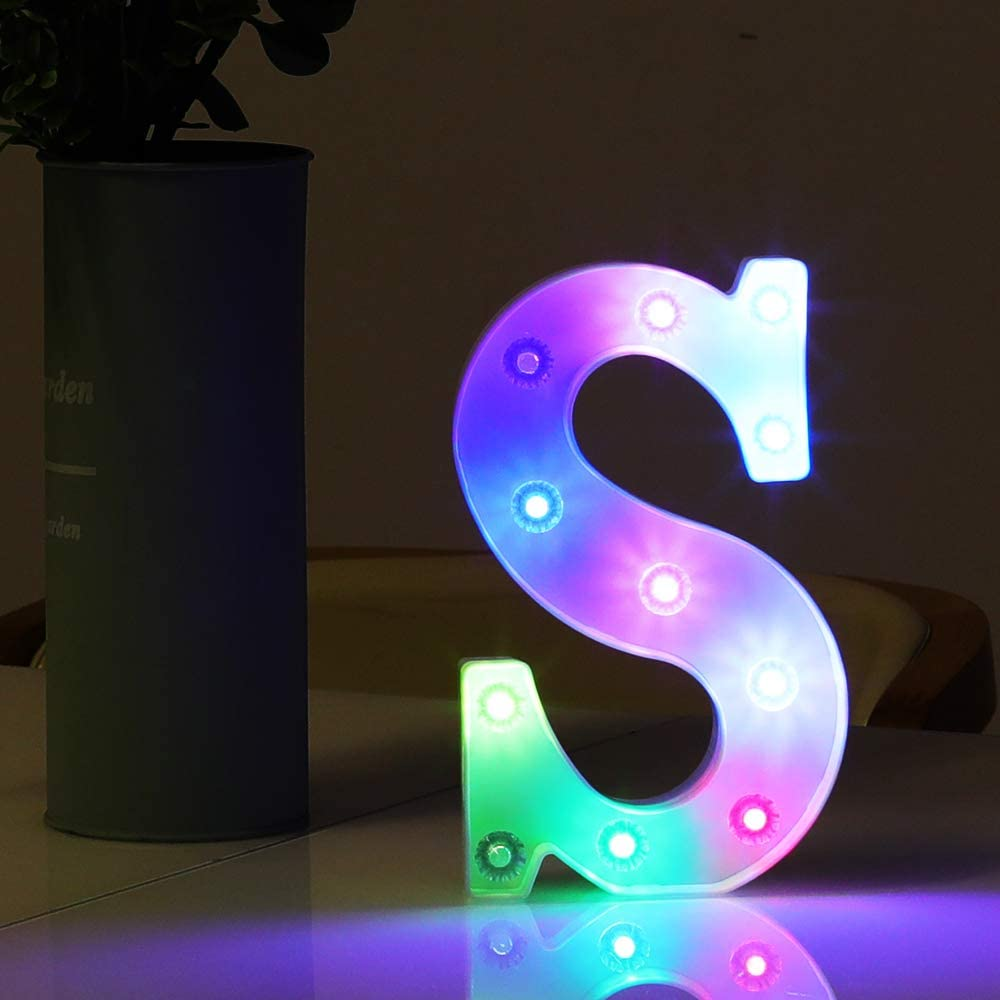 HYFILOD Alphabet Symbol Battery-Powered LED Colorful Decorative Night Light Children's Gift Wedding Birthday Party Decoration (Letter S)