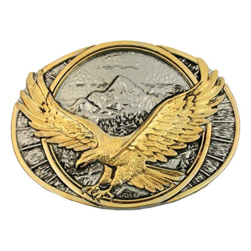 (Montana Silversmiths Gold & Nickel Men's Soaring Eagle Belt Buckle, 3.63