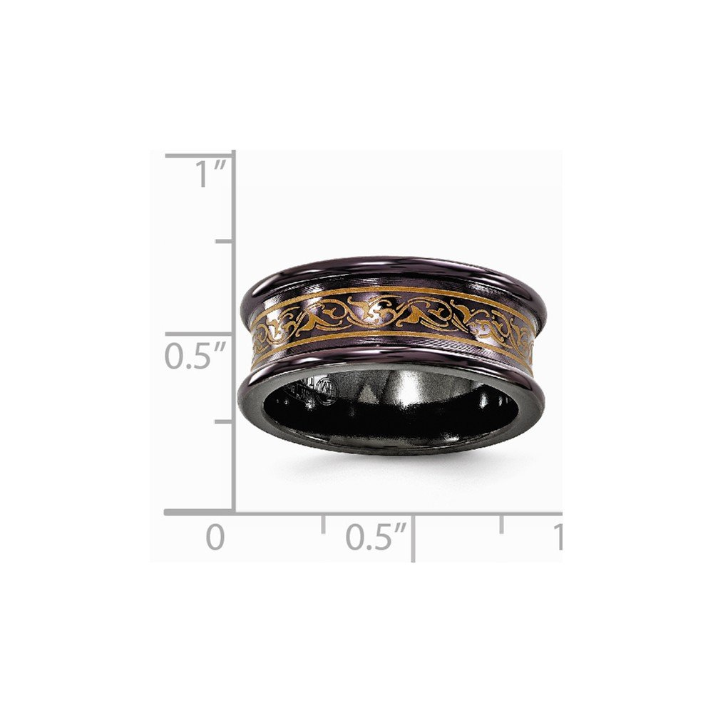 Bridal Wedding Bands Fancy Bands Edward Mirell Black Ti Concave Anodized Copper Color Band Size 8.5