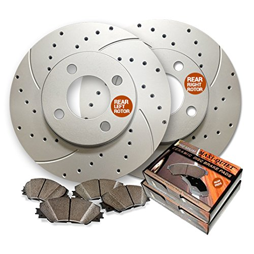 - Rear Premium Drilled and Slotted Brake Rotors and Low Dust Ceramic Pads BAXMBKE12294DS