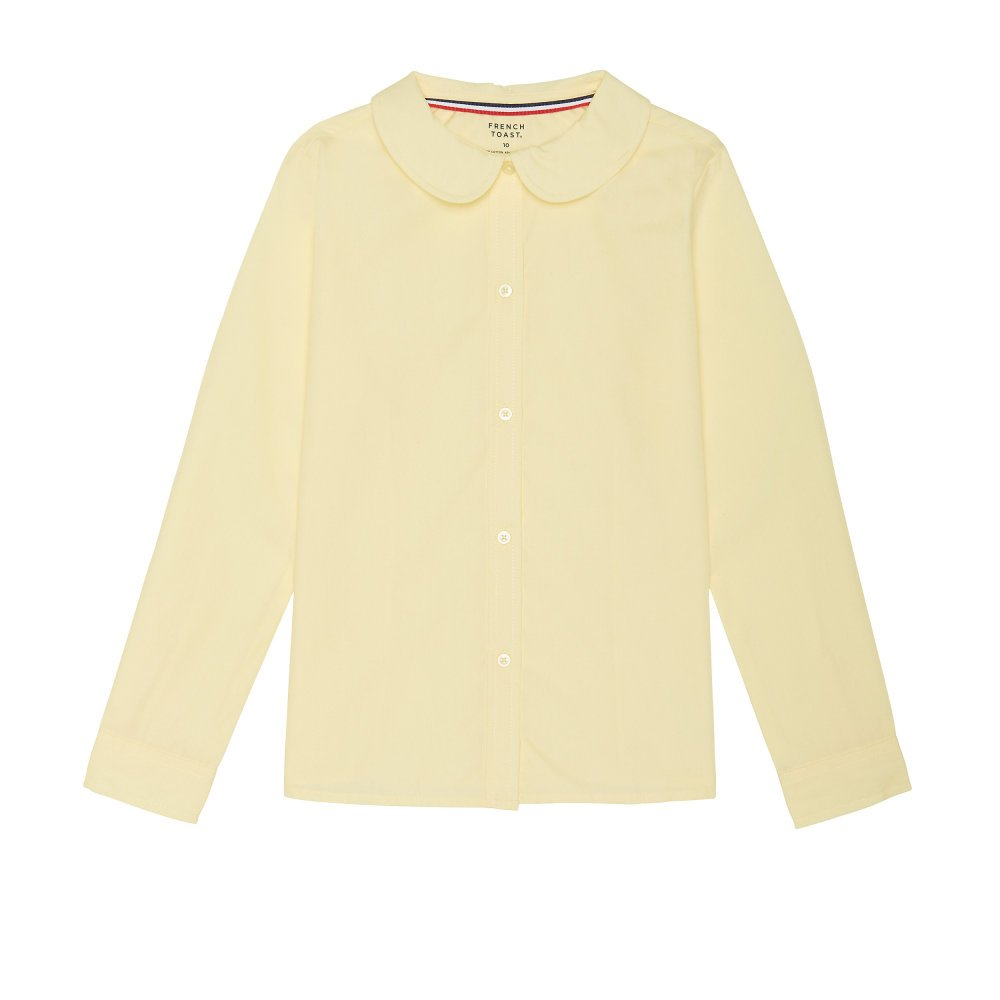 French Toast Girls Plus Size' Long Sleeve Modern Peter Pan Collar Blouse, Yellow, 18.5 by French Toast