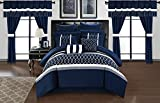 Chic Home CS2877-AN Dinah 24 Piece Bed in A Bag Comforter Set, Blue, King