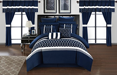 Chic Home Dinah 24 Piece Comforter Set, Queen, Blue from Chic Home