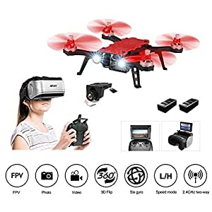 HIOTECH MJX Bugs 8 Pro Drone FPV RC Drone Kit 720P Camera Video 6-Axis Gyro Brushless Motor, Bonus Battery, Quadcopter for Kids Beginners Adults Angle/Acro 3DFlips Alarm (Goggles sold separately)