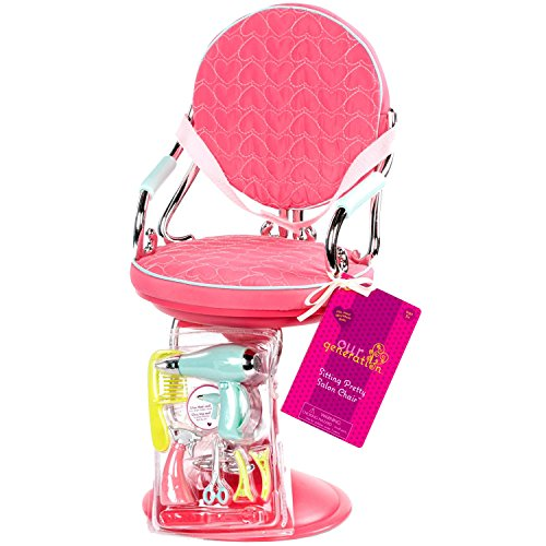 """Our Generation Sitting Pretty Salon Chair Hot Pink - Spray Bottle Pair of Scissors Hair Clips Hair Dryer and Straightening Iron - For 18"""" Dolls"""