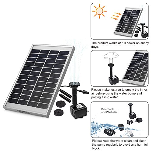 LEDGLE 5W Solar Fountain Pump Garden Water Pump for Courtyard, Maximum Flow 380L/h