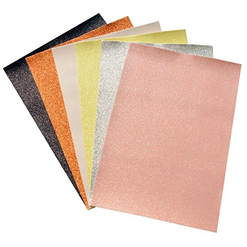- Glitter Faux Leather Fabric Sheets- 6 Pieces Assorted Colors A4 Size Precut Shiny Superfine Canvas Back for Bag Making, Hat Making, Hair Crafts Making, Jewelry Making, Sewing, Shoe Making