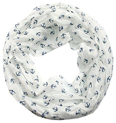 Anker-Marine-Damen-Loop-Schal-Seide-Baumwolle-wei-blau