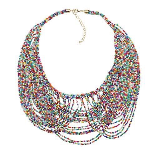 Bocar Multi Layer Statement Necklace Colorful Beaded Collar Bib Soiree Necklace for Women Gift (NK-10490) -