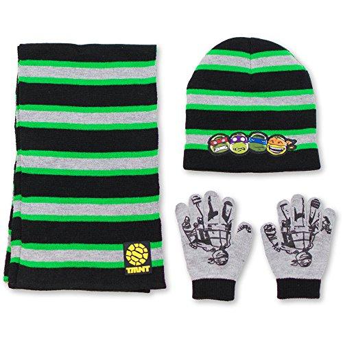 Teenage Mutant Ninja Turtles TMNT Boys Winter 3pc Set Hat Gloves and Scarf (Hat Winter Tmnt)