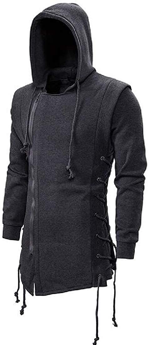 OTW Mens Drawstring Zip-Up Punk Gothic Fashion Hoodie Sweatshirt Jacket Coat