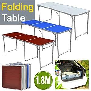 yahee aluminio plegable mesa mesa de camping (180x 60cm) regulable Mesa de 55cm de 62cm de 70cm