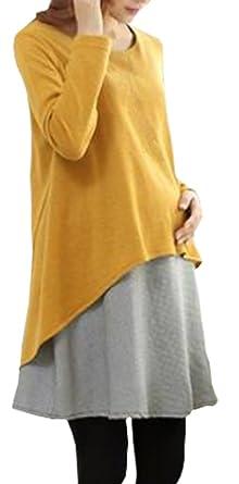 e08052347de0 BININBOX® Damen Umstandsmode Kleid Schwangerschaftskleid Langearm (L, Gelb)
