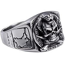 Stainless Steel Sniper United States US Army Military Skull Ring Size 7-13