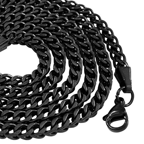 NIV'S BLING - 18K Black Gold-Plated Stainless Steel Franco Chain 4mm, 20-36 inches (30.00)