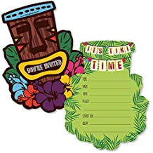 Big Dot of Happiness Tiki Luau - Shaped Fill-In Invitations - Tropical Hawaiian Summer Party Invitation Cards with Envelopes - Set of 12