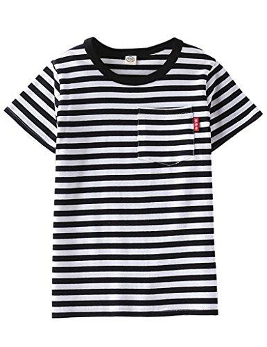 [ASHERANGEL Unisex Kids Classic Striped T-Shirt Girls Boys Crewneck Jersey Tee Black&White Thick Stripes 5-6Y] (Pugsley Addams Costume)