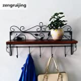 Washed Black Rustic Kitchen Wood Wall Shelf with Metal Rail Also Multi Use Can Be Used As a Spice Rack Living Room or Bedroom Wall Shelf(BLACK)