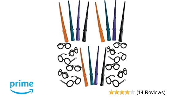 Wand and Glasses 4E/'s Novelty Wizard Party Favors Set 12 Plastic Wizard Wands,